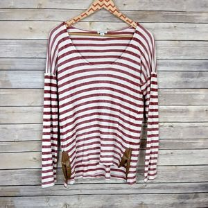 Splendid Long Sleeve Red Striped Top